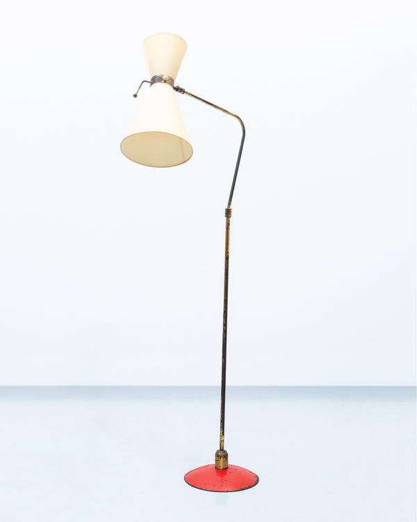Italian Floor Lamp in Brass with Red Lacquered Metal Base, 1950s