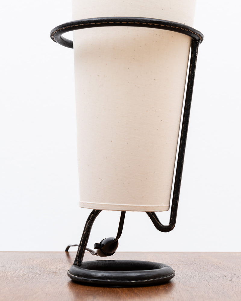 Jacques Adnet Table Lamp in Stitched Black Leather, France, 1950s
