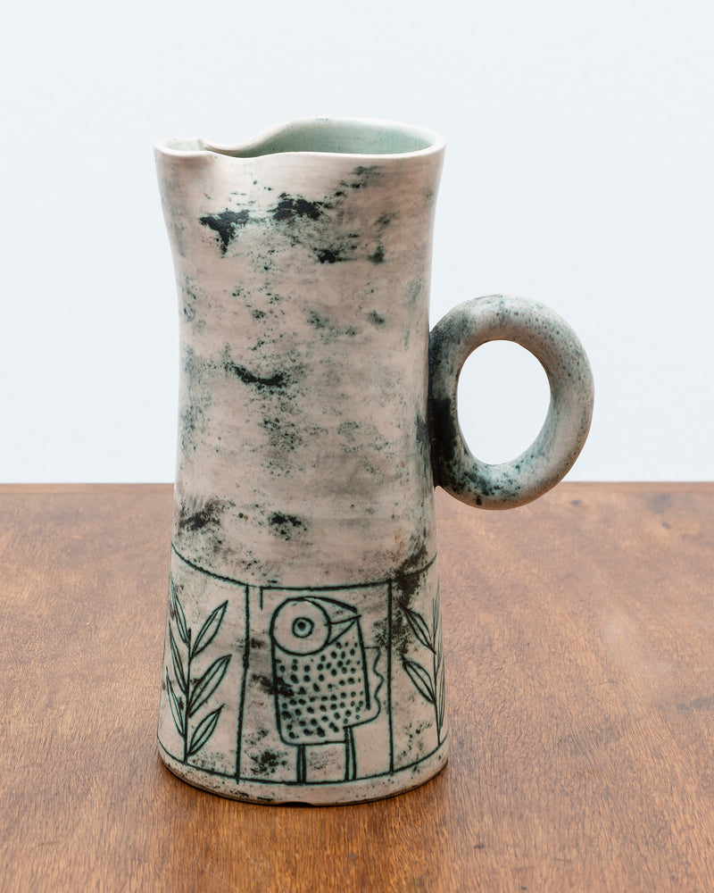 Blue Green Ceramic Pitcher by French Ceramic Artist Jacques Blin, 1950s