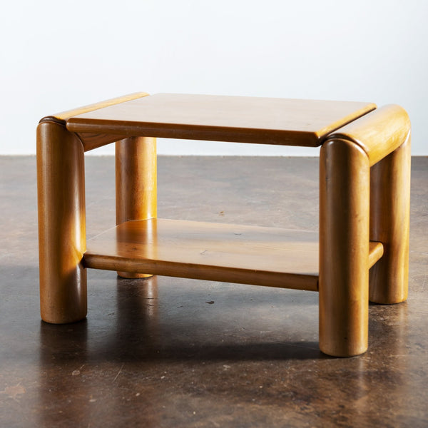 Pair of Elm Moderne Side Tables, France, 1970s