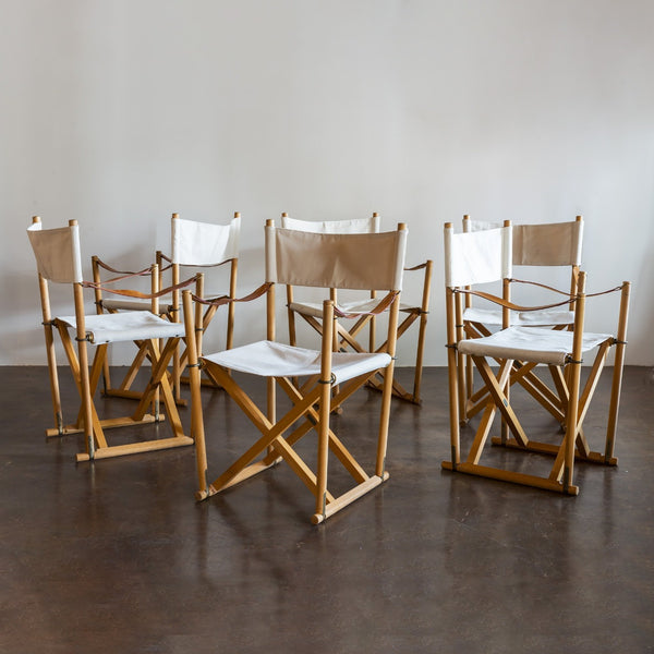 Mogens Koch Set of Six MK16 Folding Chairs for Rud Rasmussen, Denmark, 1950s