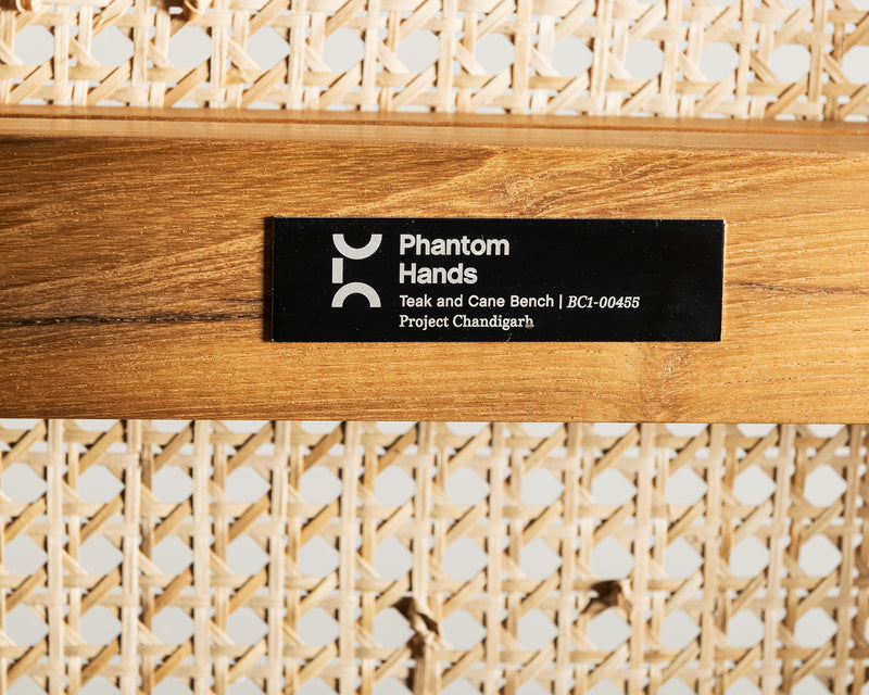 Phantom Hands Teak and Cane Bench