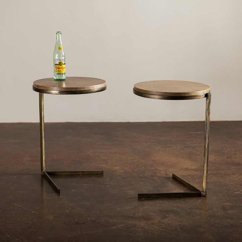 Pair of Round Iron Side Tables with Parchment Tops, France, 1950s