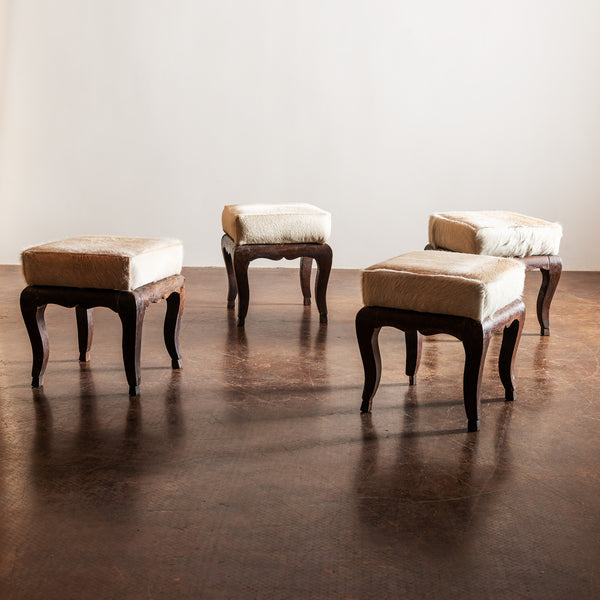 Pair French Early 1900s Stools with Cowhide Seats