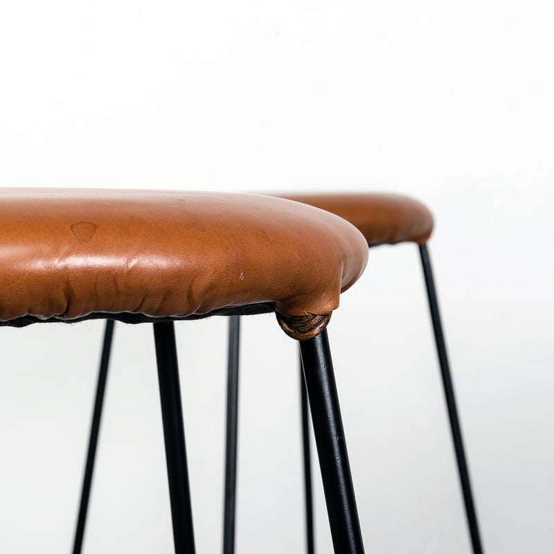 Set of Four Iron Barstools with Caramel Leather Seats, 1960s