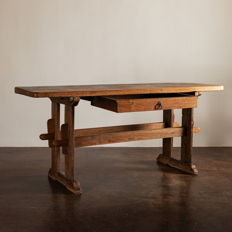 Primitive Swedish Oak Console Table, Late 19th Century