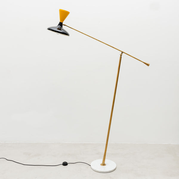Brass Italian Floor Lamp with Yellow and Black Enameled Shade and Marble Base