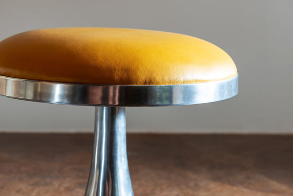 Pair of Chrome Stools with Ochre Leather Seats, 1970s