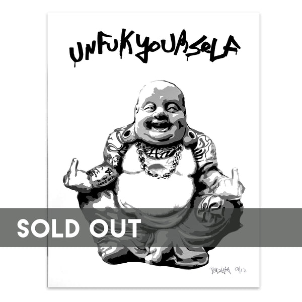 Gangsta Buddha Silk Screen 24 x 36