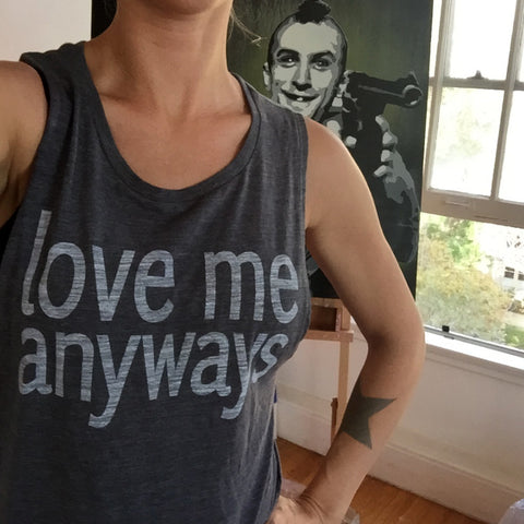 Love Me Anyways Tanks- Women's Gray