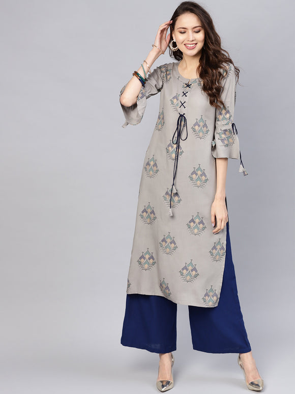 Grey & Navy Blue Block Print Straight Kurta (Top Only)