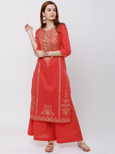 Coral & Gold-Toned Printed Kurti with Palazzos