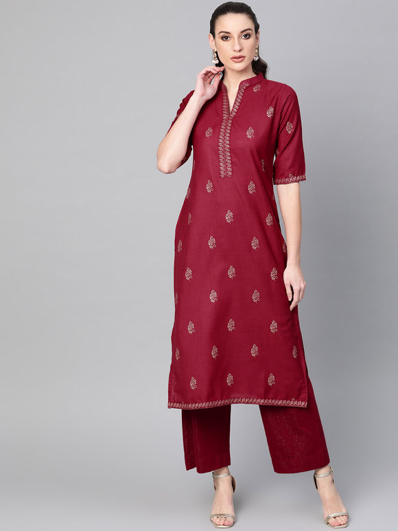 Maroon & Golden Block Print Straight Kurta (Top Only)