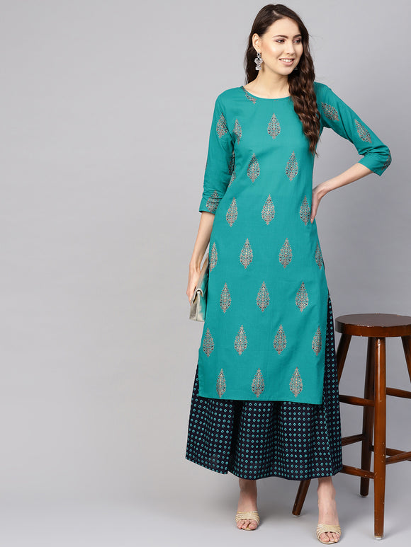 Green & Navy Blue Printed Kurta with Skirt