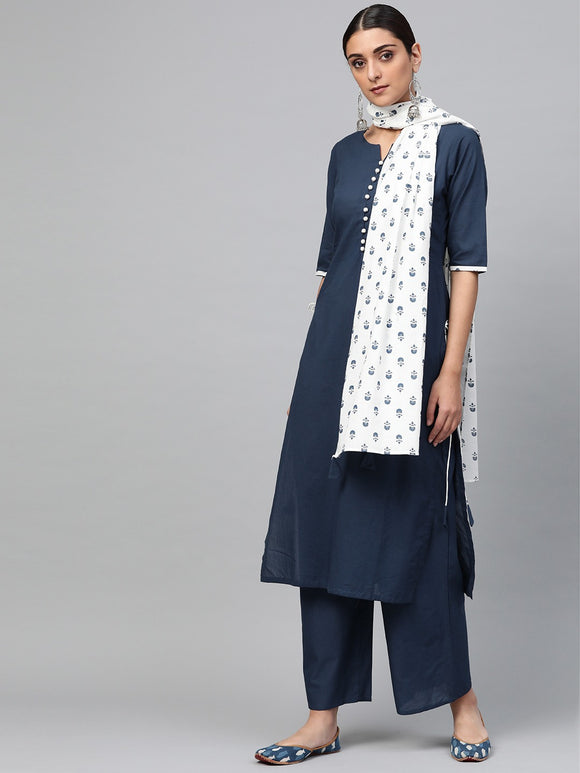 Navy Blue & White Solid Kurta with Palazzos & Stole