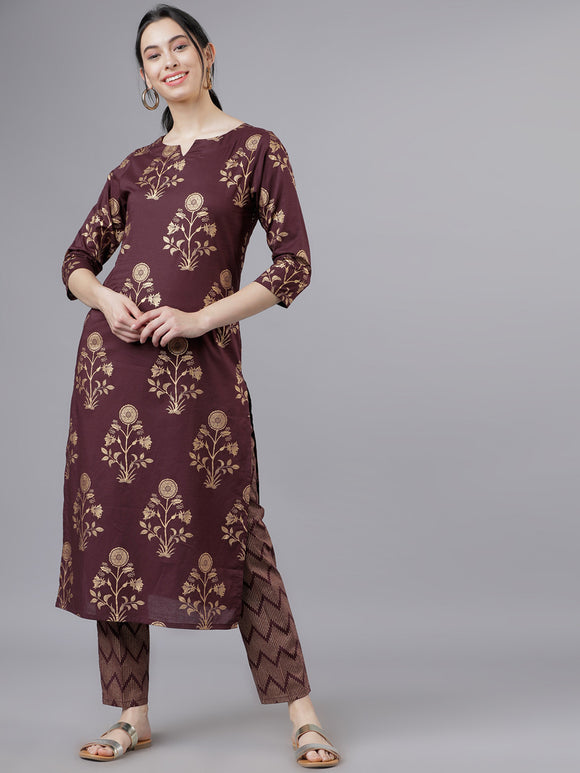 Maroon & Gold-Toned Printed Kurti with Palazzos
