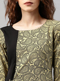 Beige & Black Printed A-Line Kurta (Top Only)