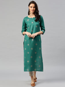 Green Printed A-Line Kurta (Top Only)
