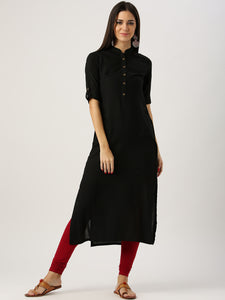Black Solid Straight Kurta (Top Only)