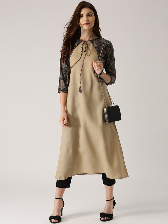 Beige Solid A-Line Kurta with Ethnic Jacket (Top Only)