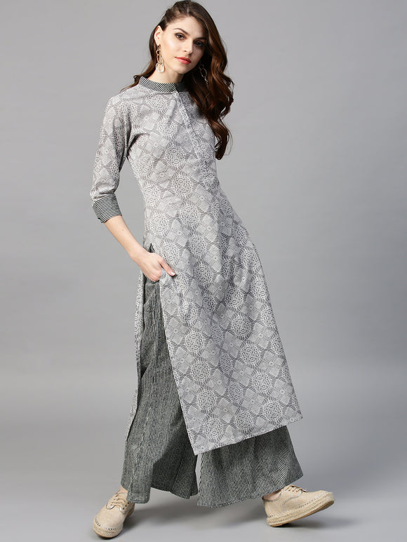 Grey & Navy Printed Kurta with Palazzos