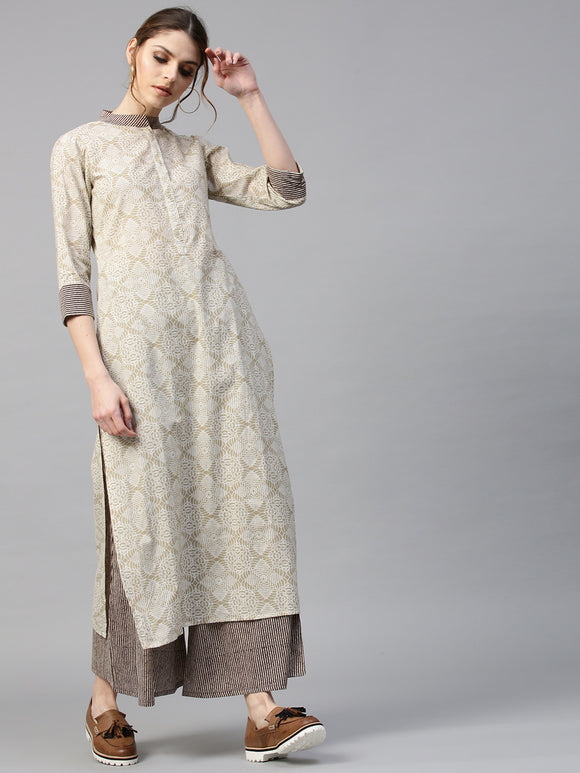 Off-White & Taupe Printed Kurta with Palazzos