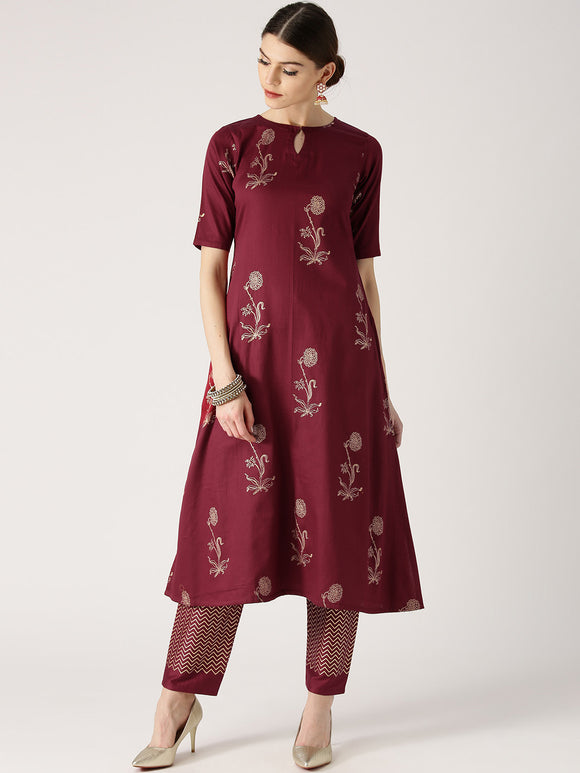 Maroon & Gold-Toned Printed A-Line Kurta with Trousers