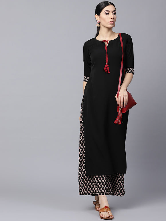Black & Brown Solid Kurta with Palazzos