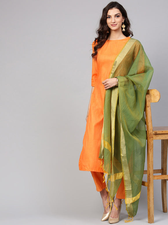 Orange & Green Solid Kurta with Trousers & Dupatta