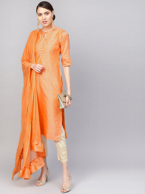 Orange & Beige Embroidered Kurta with Trousers & Dupatta