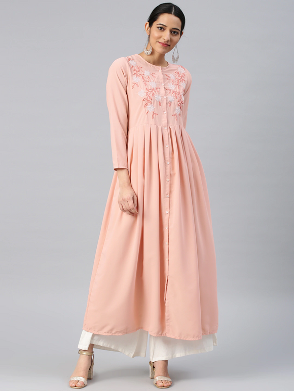 Peach-Coloured Solid Straight Kurta (Top Only)
