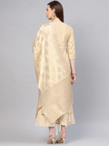 Beige & Golden Self Design Kurta with Palazzos & Dupatta