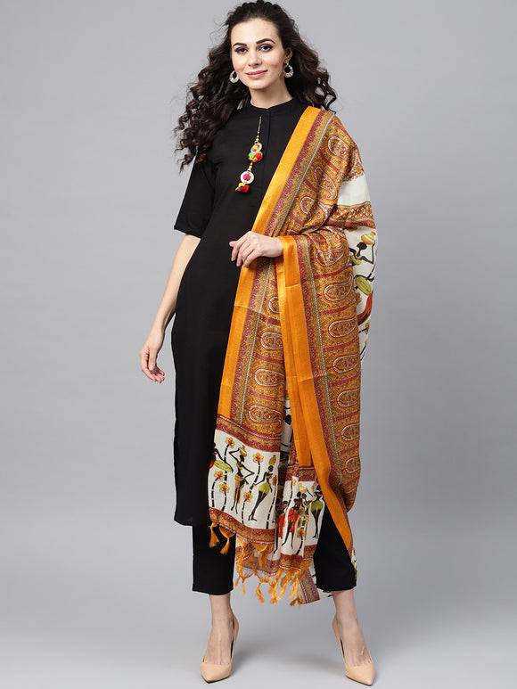 Black & Mustard Yellow Solid Kurta with Trousers & Bhagalpuri Print Dupatta