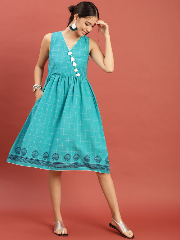 Turquoise Blue Checkered Hand Block Print Legacy Dress with Gathers & Tassels