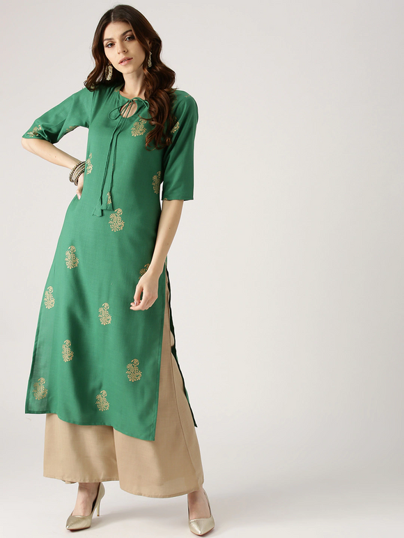 Green & Beige Block Print Kurta with Palazzos