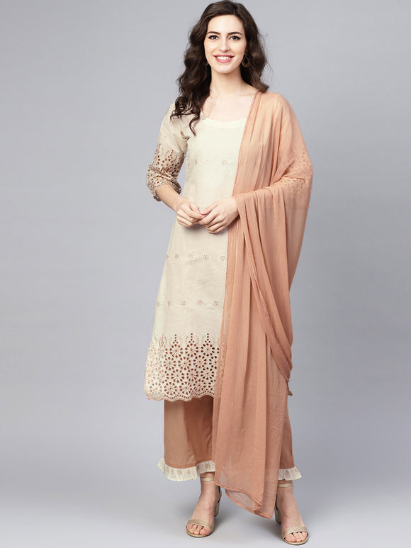 Off-White & Beige Embroidered Kurta with Palazzos & Dupatta