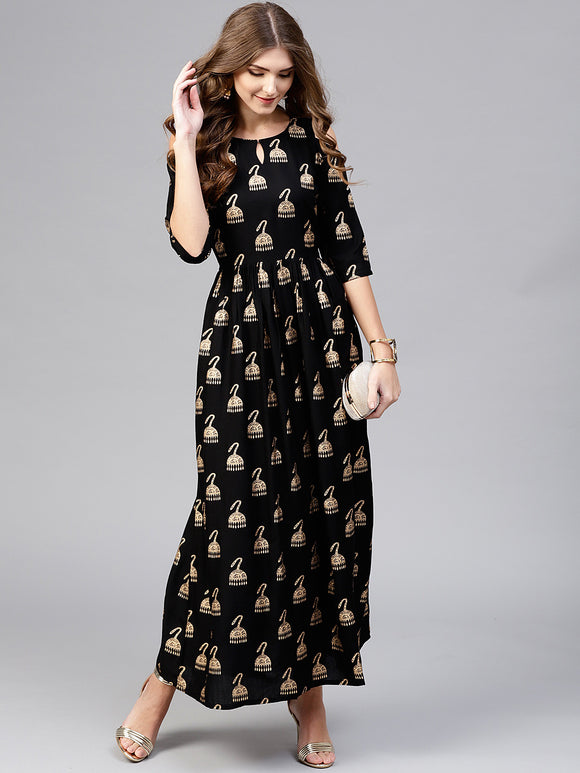 Black & Golden Block Print Maxi Dress