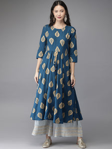 Teal Blue & Gold-Coloured Printed A-Line Kurta (Top Only)