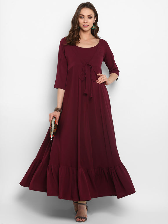 Maroon Solid Tiered Anarkali Kurta