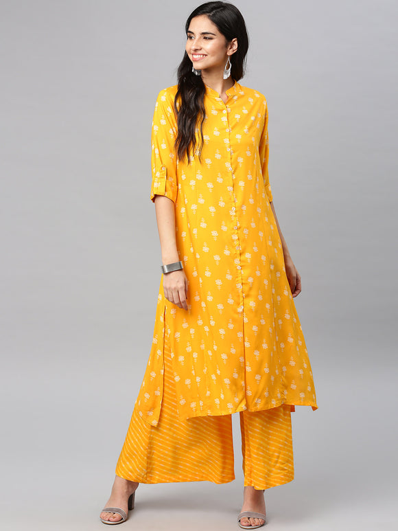 Yellow Printed Kurta with Palazzos