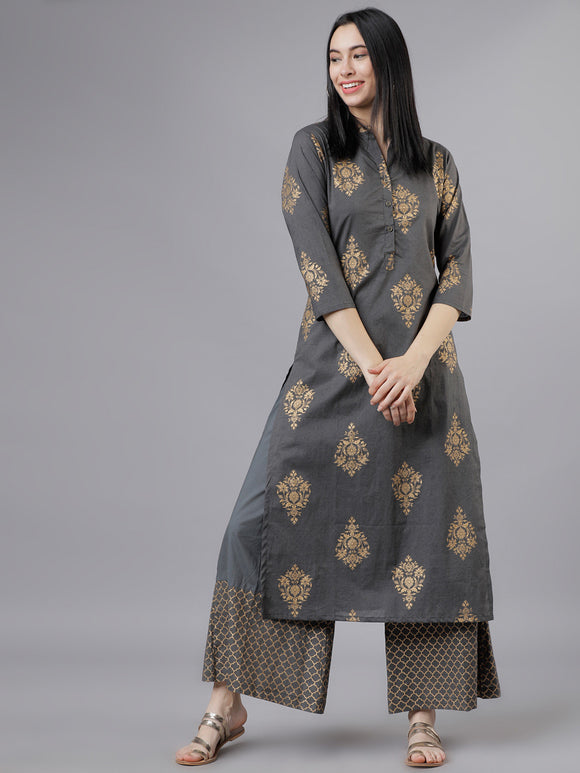Grey & Gold-Toned Printed Kurta with Palazzos