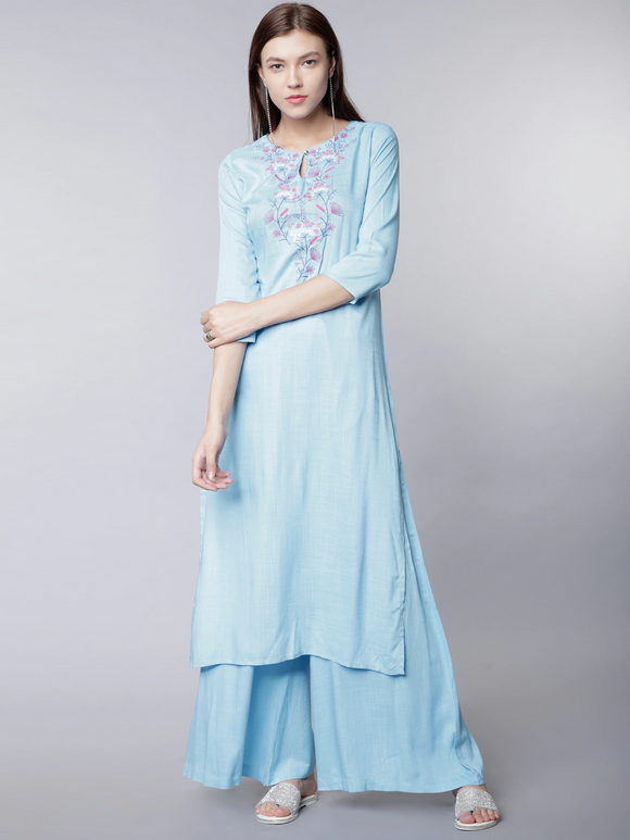 Blue Solid Kurta with Palazzos