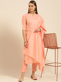 Peach-Coloured & Golden Striped Kurta with Trousers & Dupatta