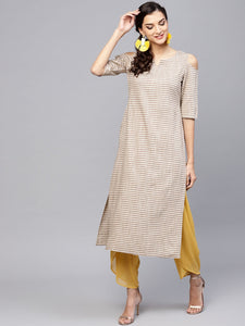 Brown & Off-White Striped Straight Kurta (Top Only)