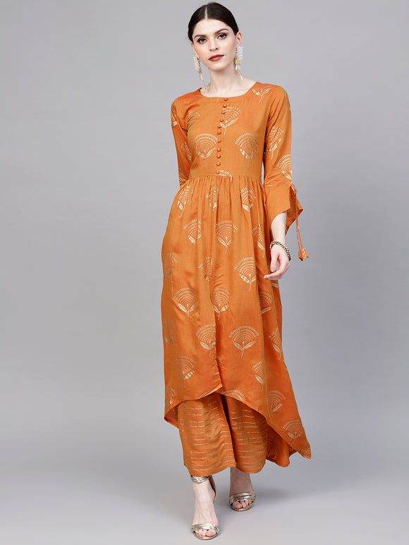 Orange & Golden Printed Kurta with Palazzos