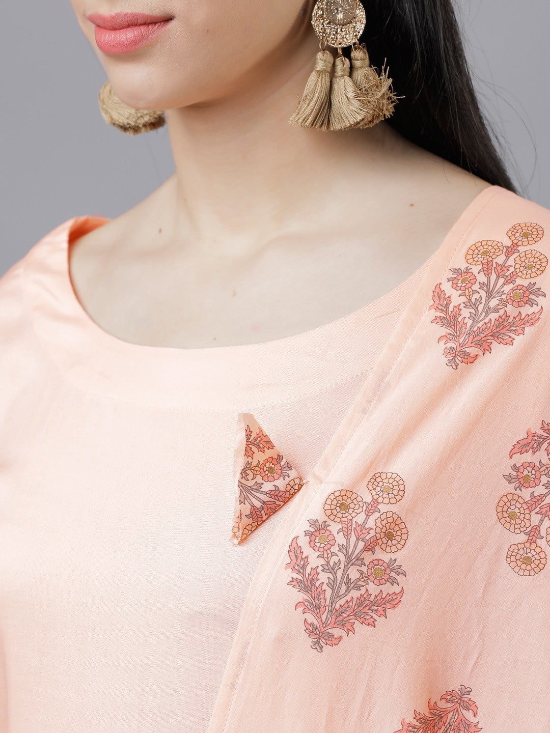 Peach-Coloured & Gold-Toned Solid Kurta with Palazzos & Dupatta