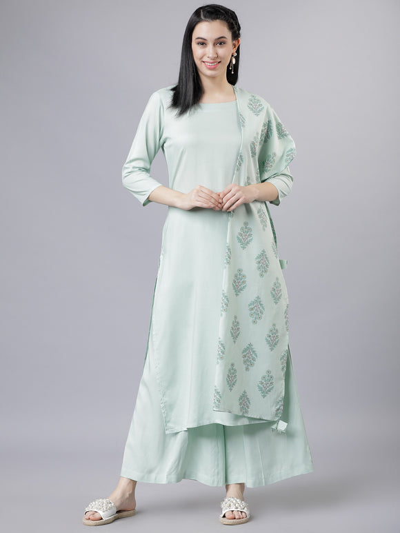Blue & Gold-Toned Solid Kurta with Palazzos & Dupatta