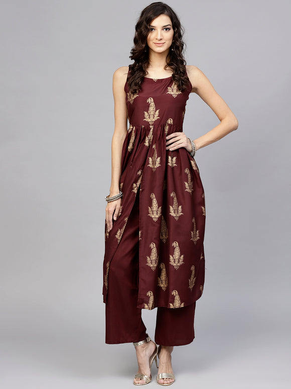 Burgundy & Golden Block Print Kurta with Palazzos