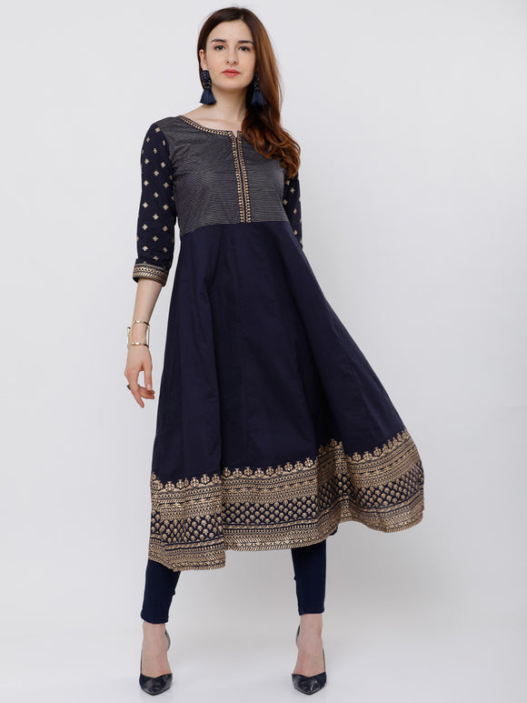 Navy Blue & Gold-Toned Yoke Design Anarkali Kurta (Top Only)