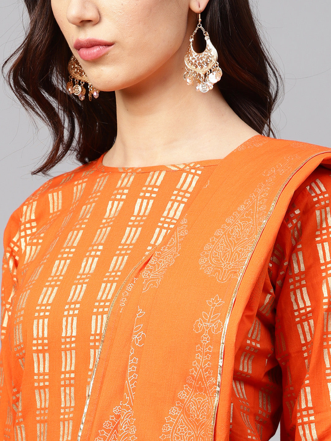 Orange & Golden Printed Kurta with Skirt & Dupatta